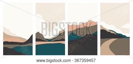 Landscape Background With Texture, Vector. Geometric Template In Japanese Style. Abstract Landscape