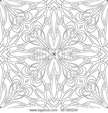 Seamless Pattern, Background In Art Nouveau Style, Vintage, Old, Retro Style. Outline Hand Drawing V