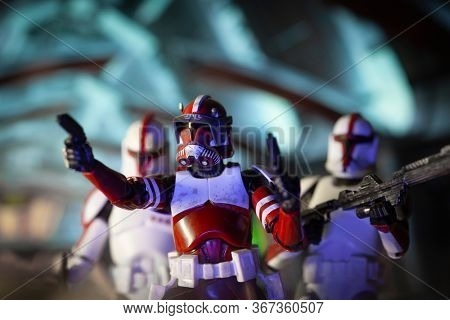 MAY 13 2020: Scene on Coruscant with clone  Commander Fox and Coruscant Guard of clone troopers - Hasbro action figures