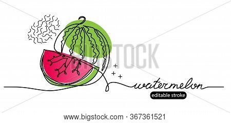 Watermelon Vector Sketch, Illustration, Banner In Modern Memphis Style. One Continuous Line Drawing.