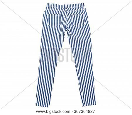 Pants Isolated On White, Striped Pants Top View, White Pants With Blue And Stripes, Isolation