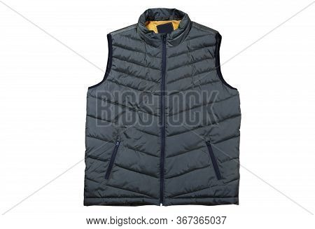 Vest Isolated On The White Background, Green Vest Top View On A White Background. A Warm Green Waist