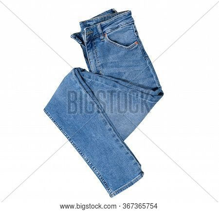 Jeans Isolated On White, Denim Pants Isolated, Folded Blue Jeans Isolated On White, Summer Clothes,