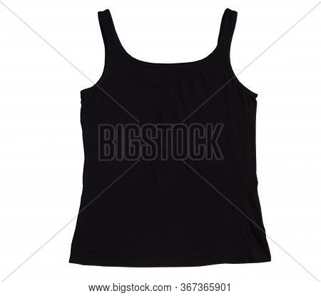 Black Female Tank Top Isolated Over White, Black Tank Top Tshirt Template Ready For Your Own Graphic