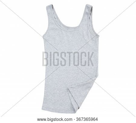 Gray Tank Top, Close Up Of A Blank T Shirt On White Background, Sleeveless T-shirt Top View, Grey Co