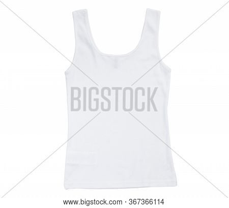 Back View White Tank Top Isolated On White Background, Plain Hollow Female Tank Top Shirt, Isolated