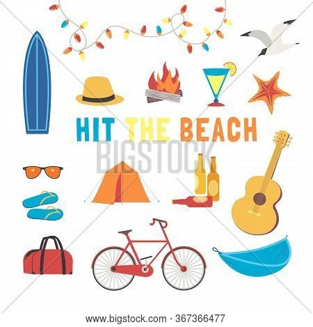 Summer Beach Activity Icon Set Flat Vector. Camp Leisure Rest Design Element Collection. Seaside Enj