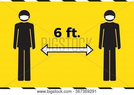 Social Distancing Concept. Stay Six Feet Apart. Human Icon Wearing Face Mask. Coronavirus Covid-19 O