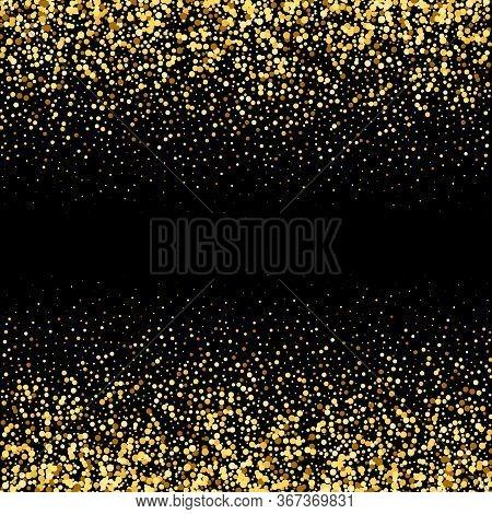 Gold Design Confetti Glitter On Black Background. Abstract Gold Dust Glitter Background. Golden Expl