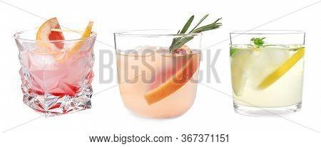 Set Of Refreshing Nonalcoholic Drinks On White Background. Banner Design