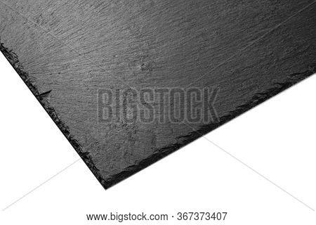 Black Slate Plate. Black Stone Slate Board. Blank Slate Isolated On A White Surface. Texture Of The