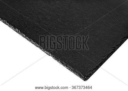 Black Slate Plate Fragment. Black Stone Slate Board. Empty Slate Surface Isolated On White. Texture