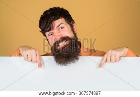 Advertising Board. Copy Space. Bearded Man With Blank Board. Space For Text. Bearded Man Holds Empty