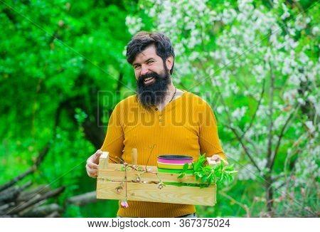 Eco Farm. Spring Farming. Gardener Work. Man Farmer. Gardening. Farmer Works In Garden. Farmer Hold