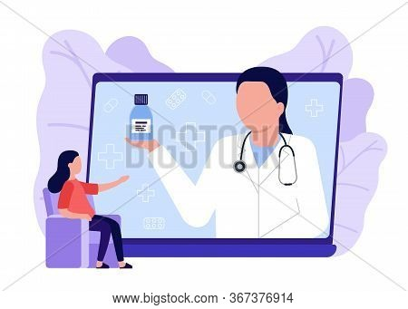 Online Medical Advise, Consultation Service. Woman Call Videoconference With Doctor, Online Internet