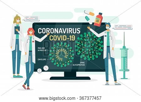 Flat Vector Illustration Of Doctors In Masks Tell About Coronavirus Internal Structure On A Tv Or Co