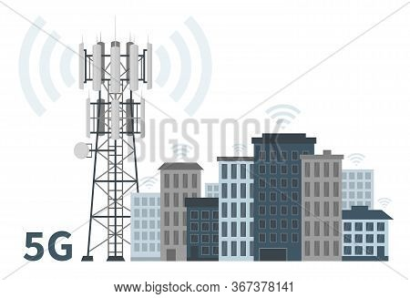 Innovative Smart City Of Future With 5g Base Station Mast On White Background, Flat Vector Illustrat
