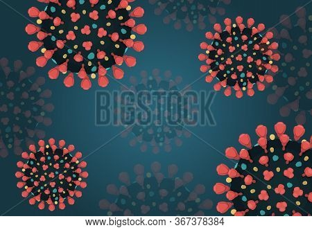Close-up View Of Red Coronavirus On Dark Blue Background. Flat Vector Illustration Of Covid-19 With