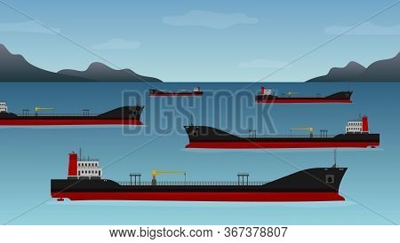 Ships With Fuel, Transport Industry. Nautical Vessel Float Off The Coast Of California, Low Demand F