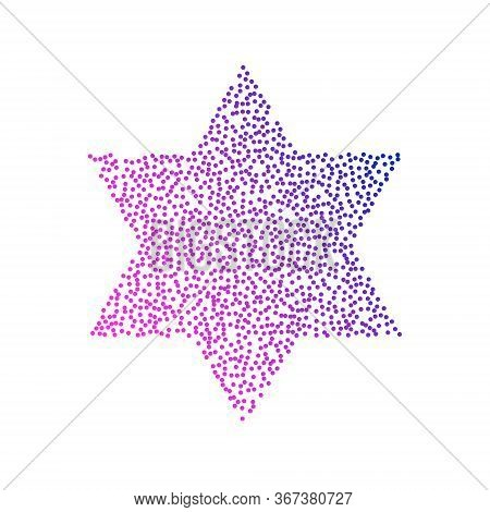Colored Logo Star Of David In The Form Of Dots And Blue-red Gradient. Neon Graphic, Light Effect