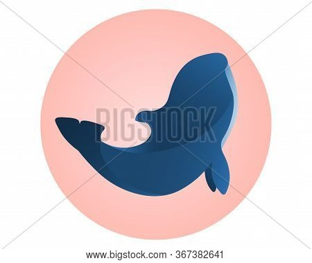 Wild Blue Orca On Pink Circle. Sign For Dolphinarium.