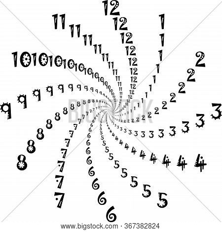 Clock Dial Interesting Numbers For The Hours Swirlingon Transparent Background Designer Cut