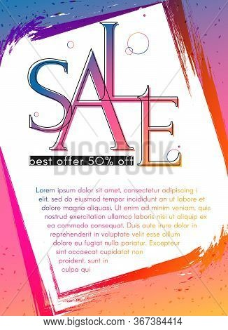 Banner Poster Sale Flyer On A Bright Gradient Background Modern Youth Concept For Advertising Promo