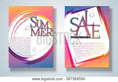 Banner Poster Summer Sale Flyer On A Bright Gradient Background Set Modern Youth Concept For Ads Mus
