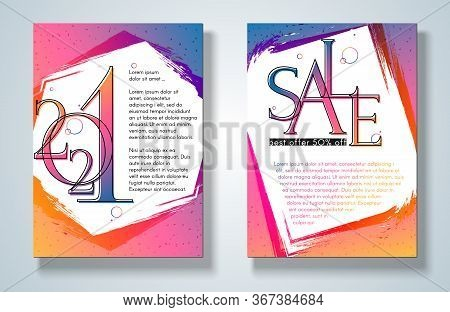 Banner Poster 2021 Sale On A Bright Gradient Background Set Modern Youth Concept For Ads 2021 New Ye