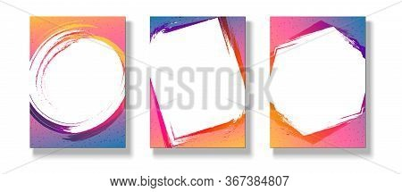Banner Poster Flyer Graphic Frame On A Bright Gradient Background Set Modern Youth Concept Ads Music