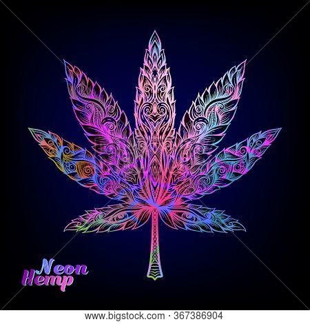 Cannabis Leaf Decorated With Original Modern Pattern. Element For Design. Vector Illustration In Dec
