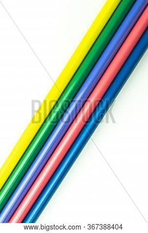 Bright Beautiful Crayons. Colored Pencils Isolated On White Background.