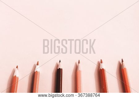 Background Of Pastel Pink Pencils On Pink Background. Back To School, Education And Learning Concept