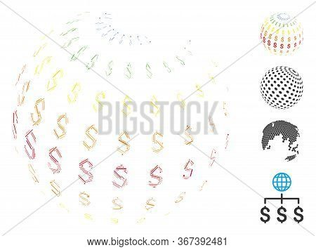 Line Collage Abstract Dollar Sphere Icon Constructed From Thin Elements In Various Sizes And Color H