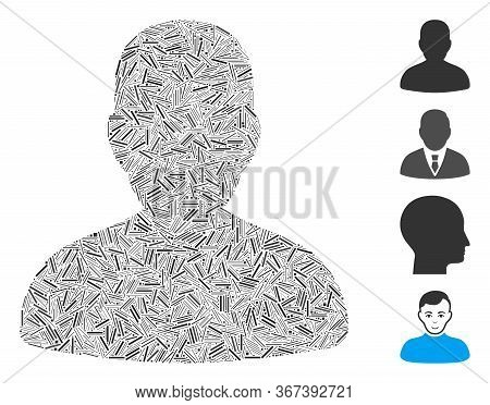 Linear Mosaic Avatar Icon Composed Of Thin Items In Various Sizes And Color Hues. Linear Items Are C