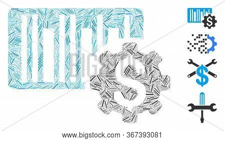Line Mosaic Barcode Price Setup Gear Icon Constructed From Straight Items In Variable Sizes And Colo