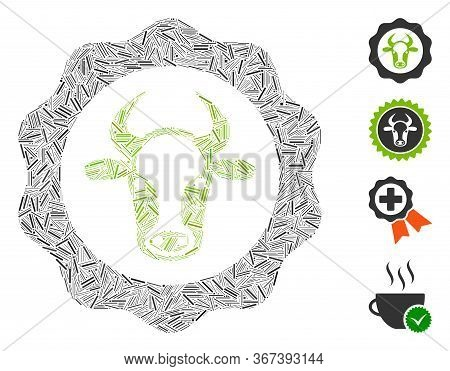 Linear Collage Beef Certificate Icon Organized From Straight Elements In Various Sizes And Color Hue