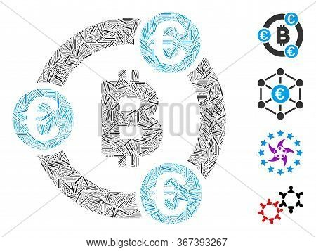Line Collage Bitcoin Euro Collaboration Icon Composed Of Narrow Elements In Variable Sizes And Color