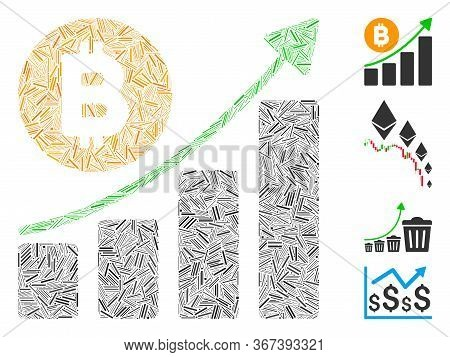 Hatch Mosaic Bitcoin Growing Trend Icon United From Straight Elements In Different Sizes And Color H