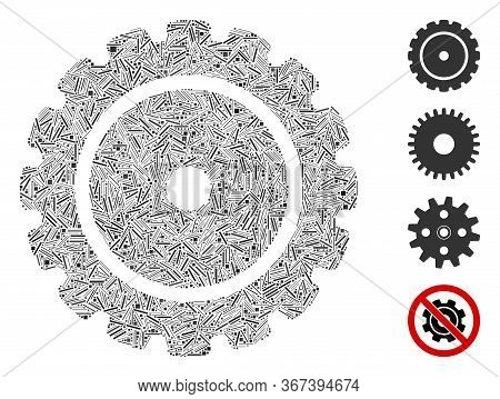 Hatch Collage Cog Icon Organized From Thin Elements In Various Sizes And Color Hues. Irregular Hatch
