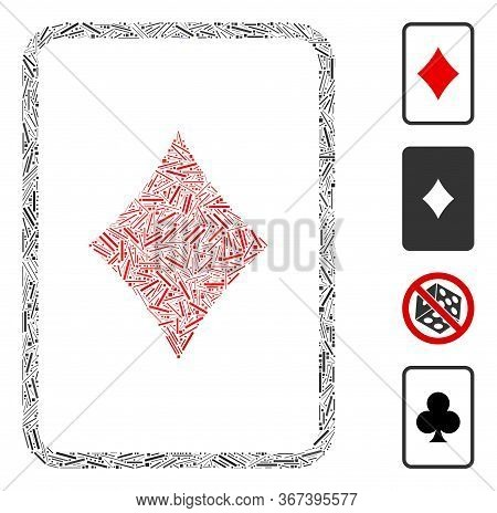 Linear Collage Diamonds Gambling Card Icon Composed Of Narrow Items In Variable Sizes And Color Hues