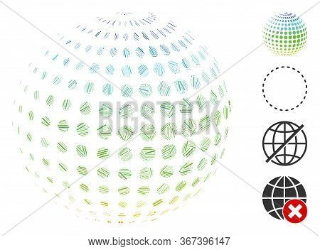 Linear Collage Dotted Halftone Sphere Icon Designed From Thin Items In Different Sizes And Color Hue