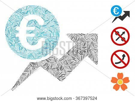 Linear Mosaic Euro Sales Growth Icon Organized From Thin Elements In Various Sizes And Color Hues. L
