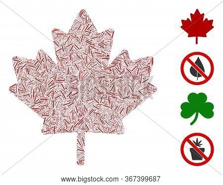 Linear Mosaic Maple Leaf Icon United From Thin Elements In Variable Sizes And Color Hues. Linear Ite