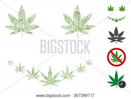 Hatch Collage Marihuana Smile Icon Composed Of Narrow Items In Random Sizes And Color Hues. Lines It