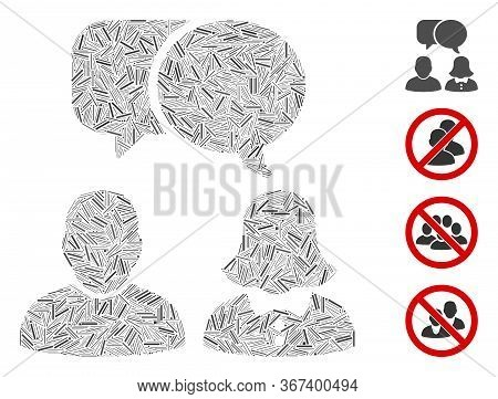 Hatch Collage People Chat Icon Designed From Straight Elements In Various Sizes And Color Hues. Irre