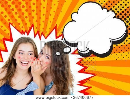 Pop Art, woman's secret, two young beautiful gossip girl whispering in ear secrets with speech bubble and halftone dots design, creative collage. Word-of-mouth concept, sunbeams yellow background