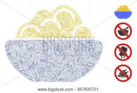 Hatch Collage Porridge Bowl Icon Designed From Straight Items In Random Sizes And Color Hues. Lines
