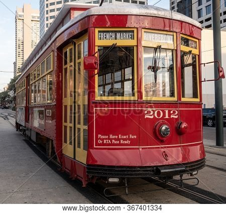 New Orleans, United States: March 1, 2020: French Market Trolley Parks On Quiet New Orleans Street