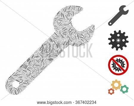 Hatch Collage Spanner Icon Designed From Narrow Items In Variable Sizes And Color Hues. Irregular Ha